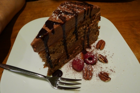 That would be pecan cake, layered with chocolate mousse and served with marinated raspberries. Un. Real.